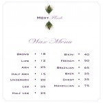 Moxy Flock waxing bar menu
